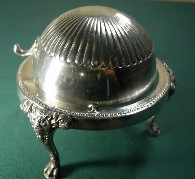 FB Rogers Silverplate Footed Round Bowl Roll Top Domed Butter Dish 273 Lion Feet