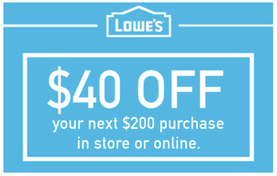 THREE Lowes $40 OFF $200 INSTANTCoupons ONLINE or INSTORE - 3 Min FAST Delivery!