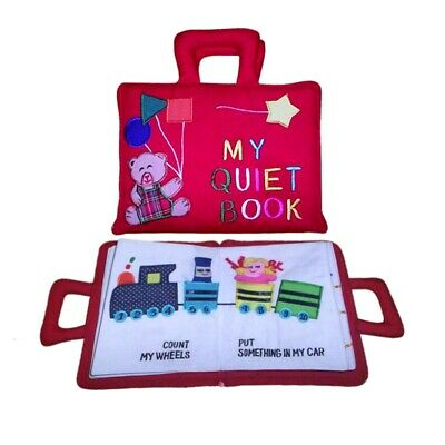 MY QUIET Book Activity Tie Shoe Clock Button Snap Colours Buckle RED Toy Gift