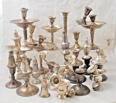 Lot of VTG Sterling Weighted Scrap 6418 grams Compotes Candlestick Misc