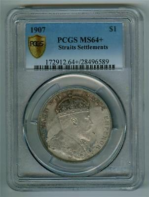 Straits Settlements 1907 King Edward Vii Dollar Pcgs Ms-64+ Choice Bu