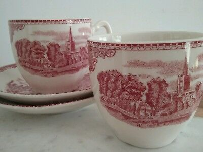 Johnson Bros pink old Britain castles 2 cup & saucers