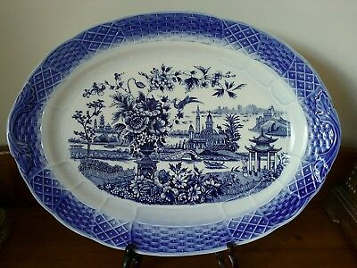 Large blue willow pagoda asiatic Japan platter 48 x 35cm