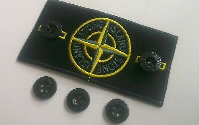 STONE ISLAND X 4 BLACK GLOSS REPLACEMENT BUTTONS 14mm **SALE**
