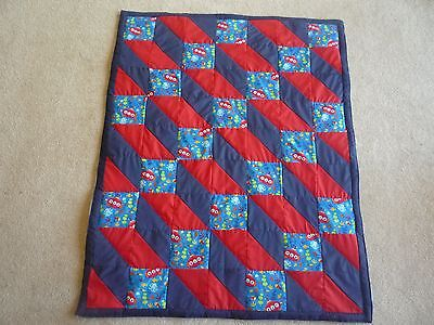New Handmade Baby/ Toddler Quilt (Blanket)  - Spaceships (Navy/Red)