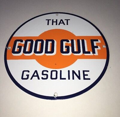 "Vintage That Good Gulf Gasoline! 11 3/4"" Porcelain Metal Gas Oil Sign Pump Plate"