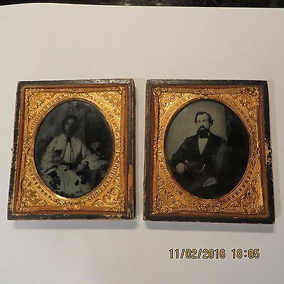 Antique Double Tin Type Photos In Case ~ (Case Needs Repair)