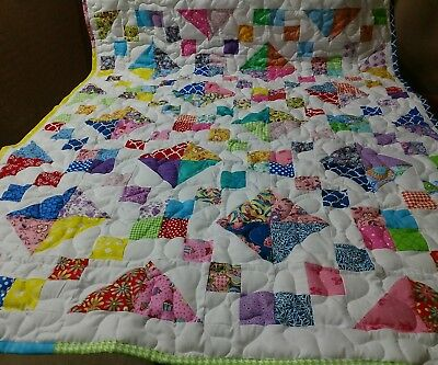 Handcrafted Handmade Pieced Jewell Box Baby Boy Girl Crib Lap Throw Quilt