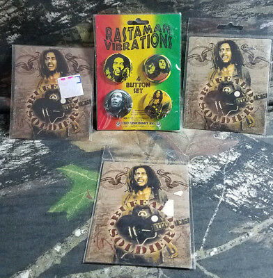 Bob Marley Buffalo Soldier Stickers And Botton Sets C4