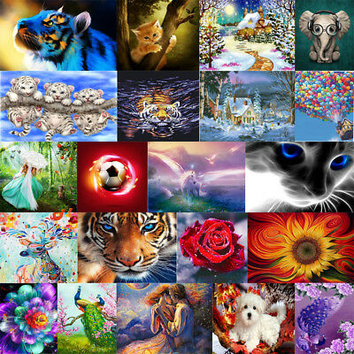 Xmas DIY 5D Diamond Painting Embroidery Animal Cross Craft Stitch Kit Home Decor