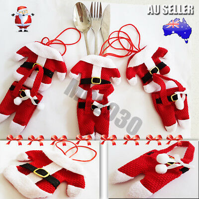 4 6 8 Pcs Santa Claus Christmas Cutlery Holder Decor Fork Utensil Table Decor