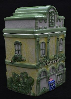 COLLECTABLE VICTORIAN POST OFFICE BUILDING~Ceramic Cookie Jar Handpainted MINT