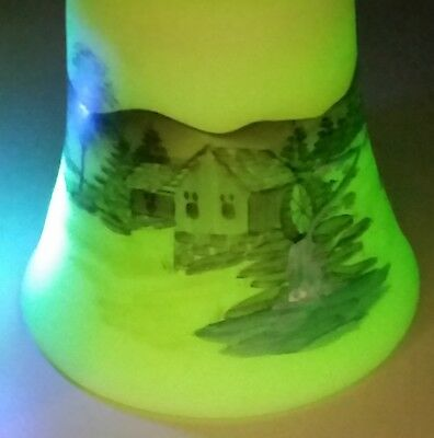 Limited Ed. Fenton Custard Satin Glass Bell Handpainted Mill Waterwheel Uv Glows