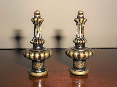 Pair  Lamp Shade Finials-Antique Brass-Plated Cast Metal-Dual Thread