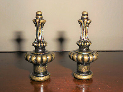 Pair Ornate Antique Brass-Plated Cast Metal Lamp Shade Finials-New!