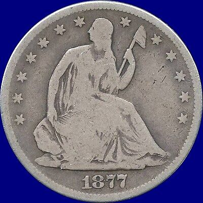 """1877 'S' United States """"Seated Liberty"""" Half Dollar  13.36 Grams .900 Silver"""
