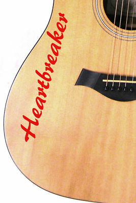 1 X Personalised Vinyl Guitar Stickers Decals Name Text Electric Bass Acoustic