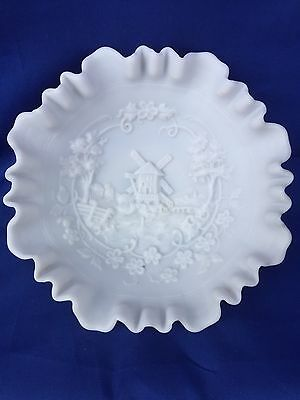 Antique Imperial Bowl Windmill Milk Glass BOWL Scallop LACED Edge Holland ESTATE