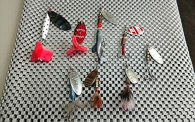 Lot of 8 Vintage Spinners Fishing Lures Mepps Abu Roster Tail nice mix GC Aglia+
