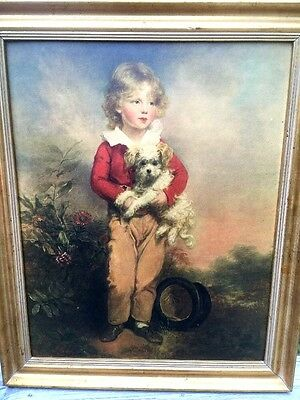 MASTERFUL ANTIQUE 18TH C. PORTRAIT PAINTING Litho BOY & RAT TERRIER wow FRAMED