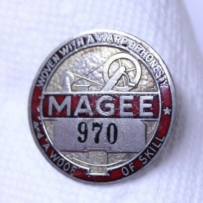 Nice Antique Magee Sewing Clothing Factory Employee Badge