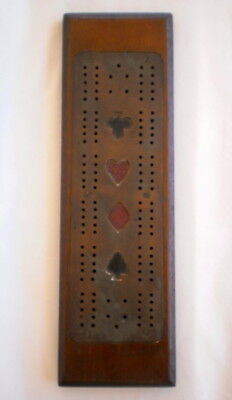 Collectable Vintage Wood With Inlaid Brass Cribbage Score Board - No Pegs