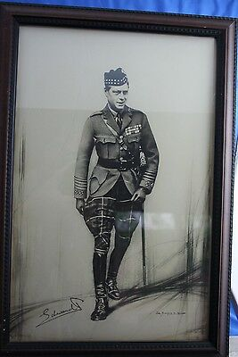King Edward VIII Fine Signed Drawing Very Rare Prince Of Wales In Riding Pants