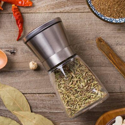 Stainless Steel Brushed Mill Salt Pepper Manual Bottle Grinder Glass Bottle we