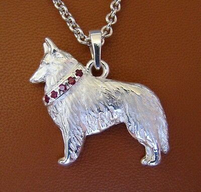 Large Sterling Silver Belgian Sheepdog   Standing Study Pendant