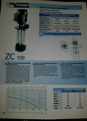 OSIP ZC100  Immersible Circulating,  Coolant Pump, Oil. Pump. 1.2 HP New