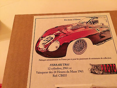1/32 PSK Ferrari TR 61 slot resin body winner Le Mans 61