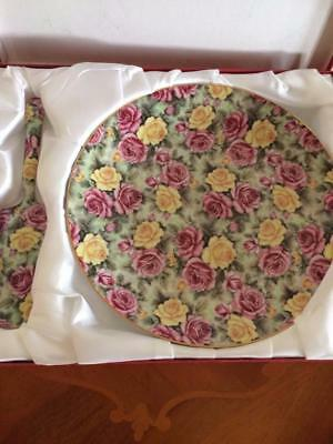 Trent & Dunne Floral Pink Yellow Roses Chintz Porcelain Cake Plate & Server Set