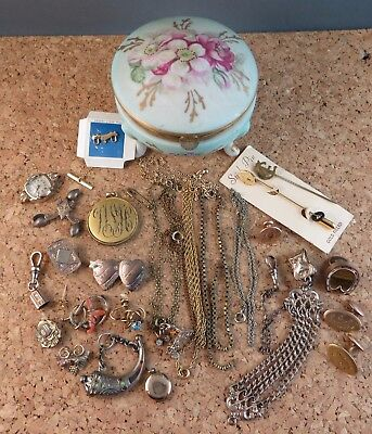 Antique Victorian Lot Some Gold Filled Chains Locket Pin Clip Pendant Fob #190