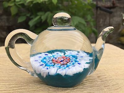 Edinburgh Art Glass Tea Pot Paper Weight