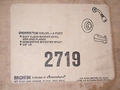 Moen Shower & Tub Valve 4 Port Kit  New Old Stock Made In U.S.A. #2719