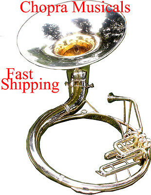 "Best Sousaphone PRO Shinning Brass 22"" Bb ""Chopra"" 3 Valves with Bag M/ P"