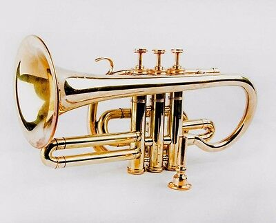 Best Cornet Shinning Brass Professional 3V with Hard Case +Mouth Piece Free