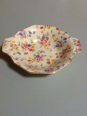 Vintage H&K Tunstall Floral Chintz Bowl With Gold Trim