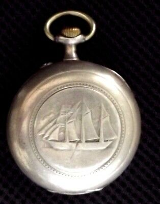 Old Silver - Helios Pocket Watch / 8 Stones / Rare Sailing Ship Motive / Working