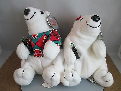 Vintage Coca Cola Bears Tags Attached Girl & Boy EUC Stuffed Plush