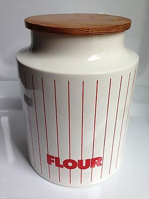 Vintage White w/Red Stripes Hornsea Pottery England Flour Canister