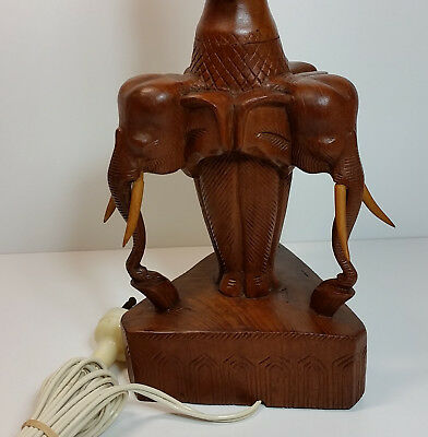 Large Vintage Hand Carved Wood Elephant Electric Lamp 54cm Tall, Mid Century MCM