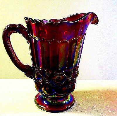 Beautiful Mosser Raspberry Carnival Glass Pitcher Ruby Red Blue Gold Eyewinker