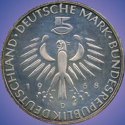 1968 'D' Germany 5 Mark Silver Coin (11.2 Grams .625 Silver)
