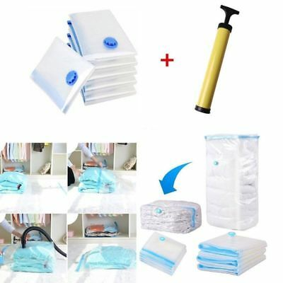 5pc Vacuum Storage Bags Space saver + Hand pump for travel Triple Seal Clothes