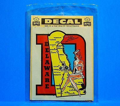 Vintage Authentic Impko Travel Decal - Delaware - State Map - Pin Up Bikini Girl