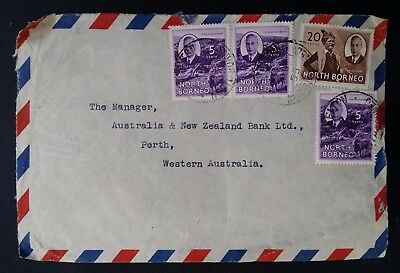 SCARCE 1953 North Borneo Airmail Cover ties 4 stamps canc Jesselton to Australia