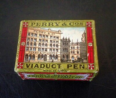 Scarce Victorian Perry & Co Viaduct Unused Pen Nibs In Illustrated Box