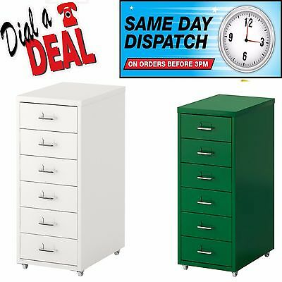 A4 Drawers Unit on Castors Office Cabinet 6 Drawer Multi Filing Metal Locking A4