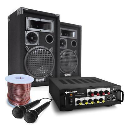 Pa System Karaoke Dj Set 600W Speakers Amplifier 2 Mics Events Parties 100 Ppl